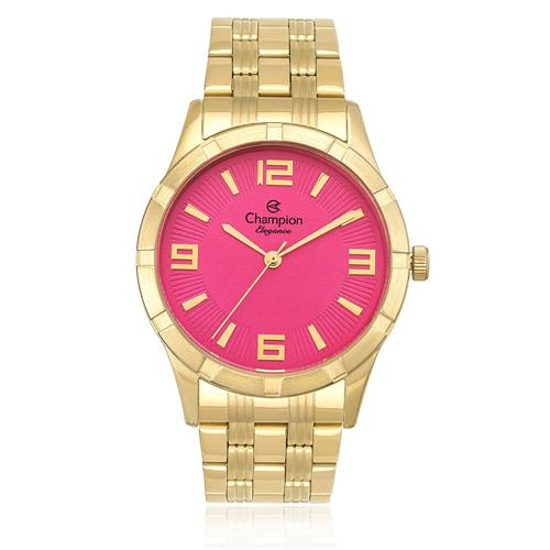 1af385b61ae Relógio Feminino Champion Elegance Analógico CN25154L Dourado fundo Rosa