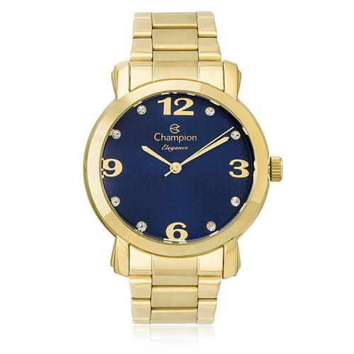 Relógio Feminino Champion Elegance Analógico CN26279F Fundo Azul com cristais