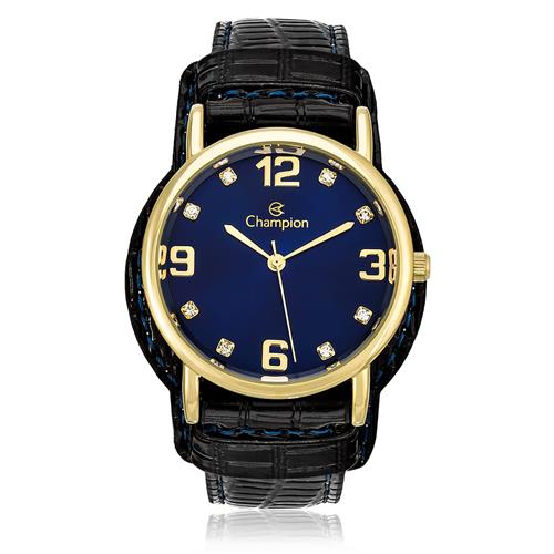 59e1e0a1c6b Relógio Feminino Champion Analógico CN20186A Couro Preto com fundo azul