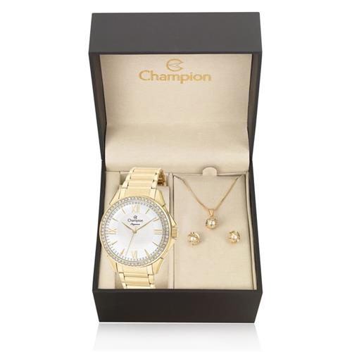 83278afeb Relógio Feminino Champion Elegance Analógico CN27769W Kit com Colar e Par  de Brincos
