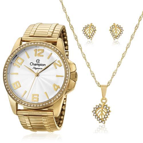 b881010f8cd Relógio Feminino Champion Elegance Analógico CN27821W Kit com Colar e Par  de Brincos