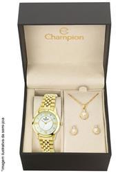 Relógio Feminino Champion Elegance Analógico CN28464W Kit com Colar e Par de Brincos
