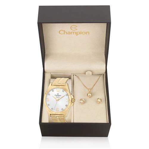 f07bc11397a Relógio Feminino Champion Elegance Analógico CN27812W Kit com Colar e Par  de Brincos