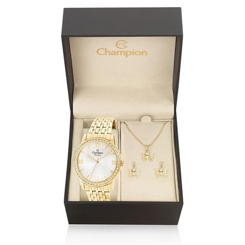 Relógio Feminino Champion Passion Analógico CN27910W Kit com Colar e Par de Brincos