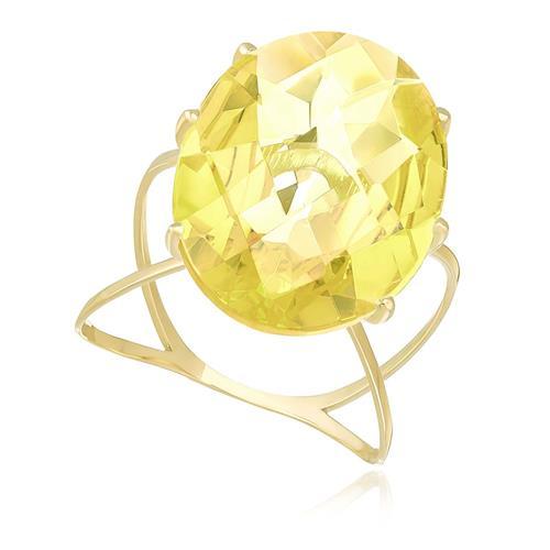 Anel com Cristal de Green Gold Oval, em Ouro Amarelo