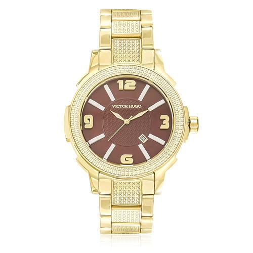 1663cff7c4a Relógio Victor Hugo Analógico 10086LSG 12M Dourado fundo Chocolate