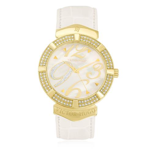 9c884c410 Relógio Feminino Victor Hugo Analógico VH10080LST/28 Couro Branco