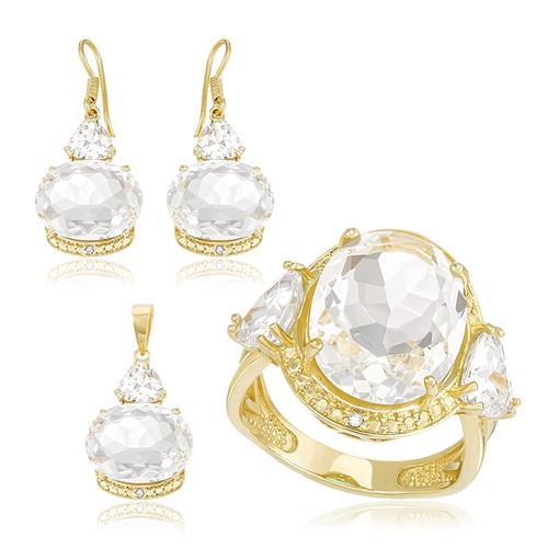 Conjunto Par de Brincos, Anel e Pingente com Diamantes, Zircônias e Cristais, com Corrente , folheado a Ouro Amarelo