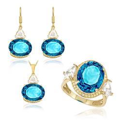 Conjunto Par de Brincos, Anel e Pingente com Topázio London Blue, Zircônias e 5 Pts em Diamantes, com corrente, Acabamento Polido