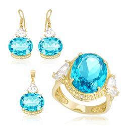 Conjunto Par de Brincos, Anel e Pingente com, Diamantes, Zircônias e Topázio Sky Blue, com Corrente, Folheado a Ouro Amarelo