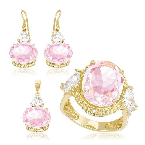 Conjunto Par de Brincos, Anel e Pingente com Diamantes, Zircônias e Rose de France, com Corrente, Folheado a Ouro Amarelo