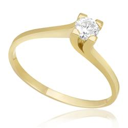 Anel Soltário com Diamante de 25 Pts, em Ouro Amarelo