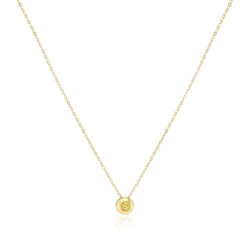 Pingente Ponto de Luz com Diamante Amarelo de 5 pts e Corrente em Ouro Amarelo