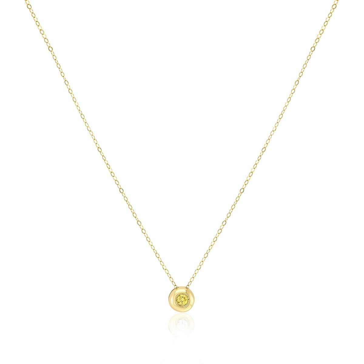 27fb48b1ed467 Pingente Ponto de Luz de ouro com Diamante Amarelo de 5 pts e Corrente
