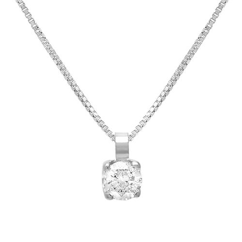659e0ec66f1fb Pingente de ouro branco ponto de Luz com Diamante de 20 Pts.