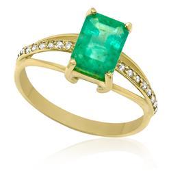 Anel com Esmeralda Retangular de 1,2 Cts e 16 Pontos em Diamantes, em Ouro Amarelo
