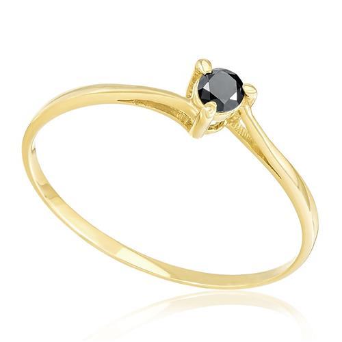 Anel de Ouro Solitário com 3 Garras e Diamante Negro com 12 Pts ... 1e35d007a3