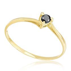 Anel Solitário com 3 Garras e Diamante Negro totalizando 12 pontos, em Ouro Amarelo