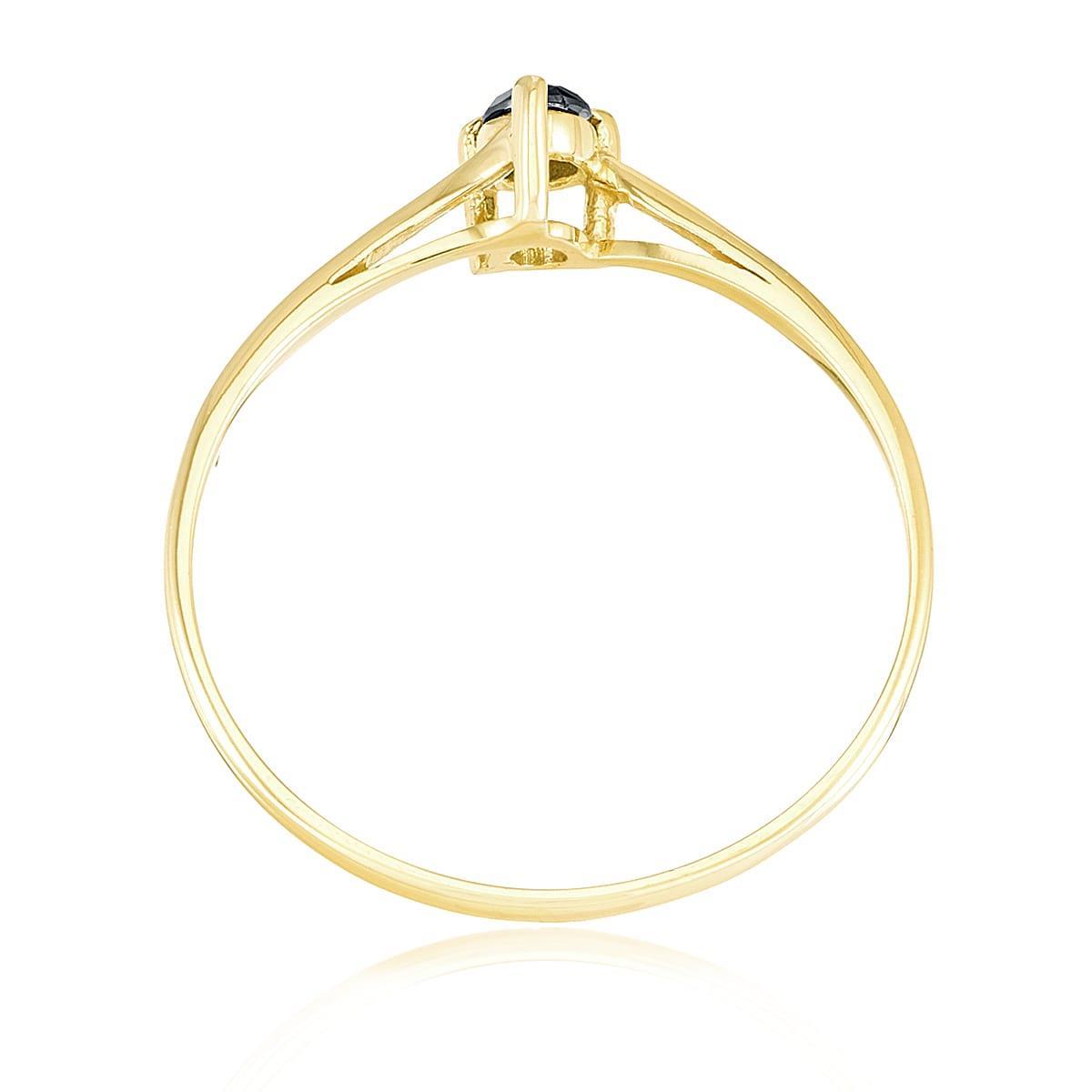 Anel de Ouro Solitário com 3 Garras e Diamante Negro com 12 Pts   Joias Vip b8841e4ce1