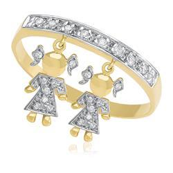 Anel com Berloques Meninas e 24 Diamantes, em Ouro Amarelo