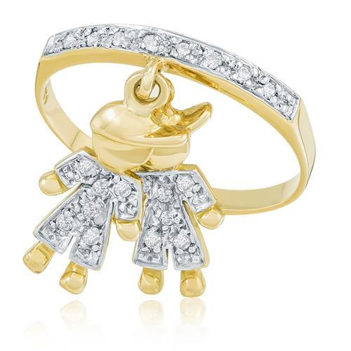 Anel com Berloques Meninos e 20 Diamantes, em Ouro Amarelo