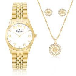 Relógio Feminino Champion Elegance CN28633W Kit com Colar e Par de Brincos