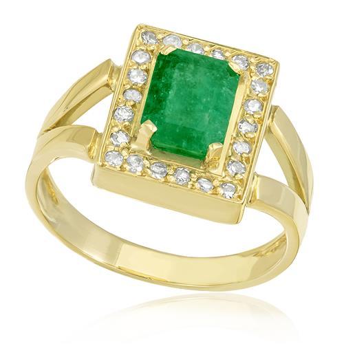 Anel com Diamantes totalizando 22 pts. e Esmeralda de 1,55 Cts., em Ouro Amarelo