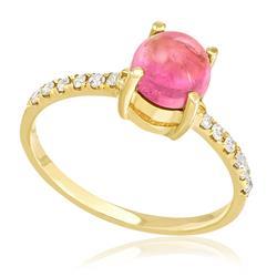 Anel com Diamantes totalizando 12 pts. e Safira Rosa de 40 pts., em Ouro Amarelo