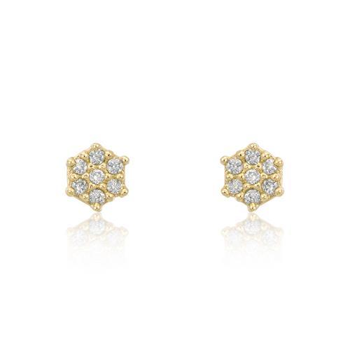 Par de Brincos Trabalhados com Diamantes totalizando 20 pts., em Ouro Amarelo