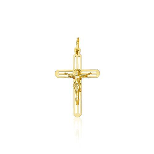 Pingente Crucifixo trabalhado em Ouro Amarelo
