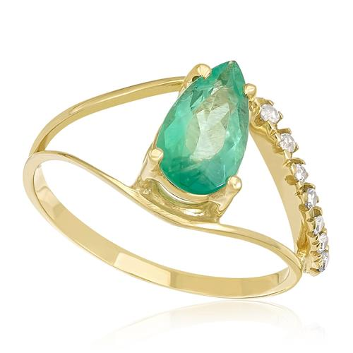 Anel com Esmeralda Gota de 1,38 Cts e 9 Pts em Diamantes, em Ouro Amarelo