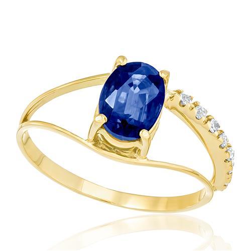 Anel com 6 Diamantes totalizando 9 pts. e Safira de 2,10 Cts., em Ouro Amarelo