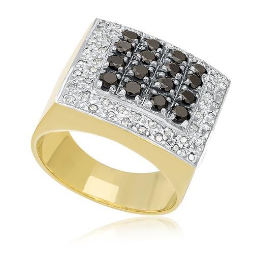 Anel com Diamantes Negros e Brancos totalizando 1,40 Cts., em Ouro Amarelo