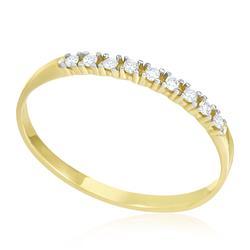 Meia Aliança com 9 Diamantes totalizando 10 pts., em Ouro Amarelo
