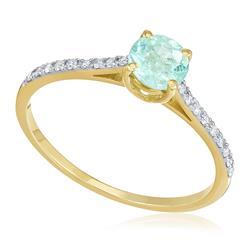 Anel com 18 Diamantes e Turmalina Paraíba de 33 pts., em Ouro Amarelo