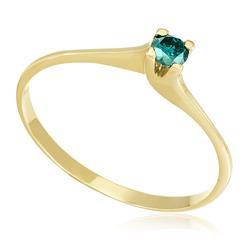 Anel de Ouro Solitário com Diamante Azul de 11 Pts 5db23c3382