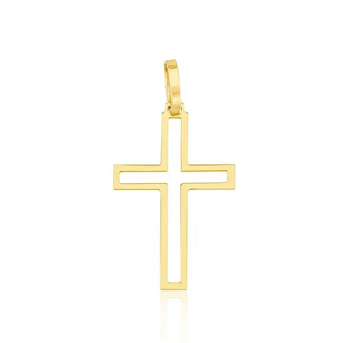 Pingente Cruz Vazada em Ouro Amarelo