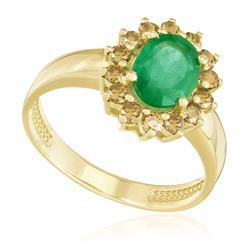 Anel com Esmeralda e 14 Diamantes Amarelos, em Ouro Amarelo