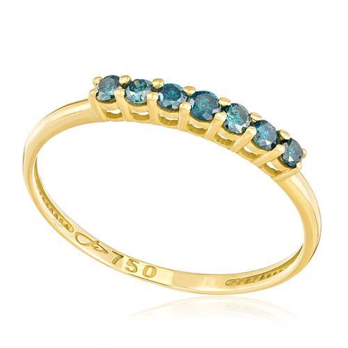 Meia Aliança com 7 Diamantes Azuis, em Ouro Amarelo