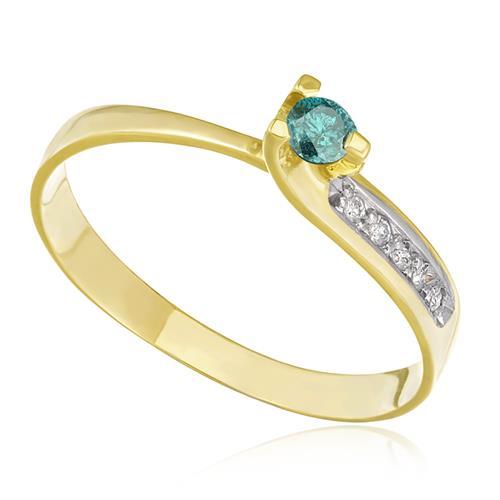 Anel de Ouro com Diamante Azul de 11 Pts f9e1e336e3