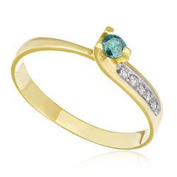 Anel com Diamante Azul de 11 Pts, em Ouro Amarelo