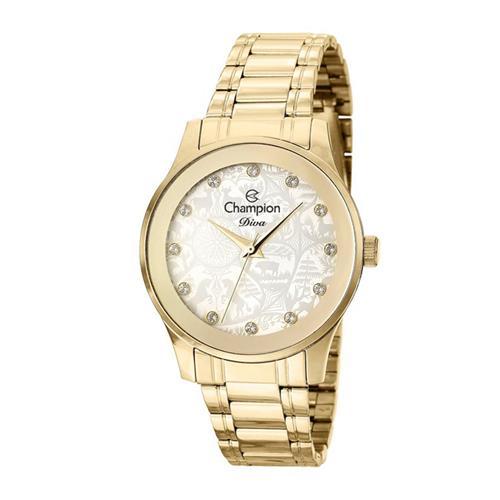 2b7f7e49343 Relógio Feminino Champion Diva CN27410H Aço Dourado com Cristais 47164