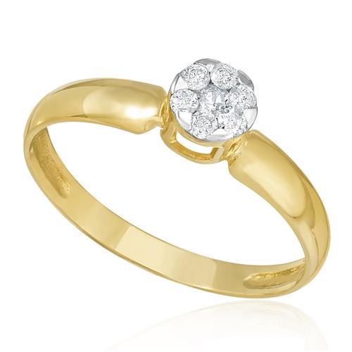 Anel com Diamantes totalizando 20 Pts, em Ouro Amarelo