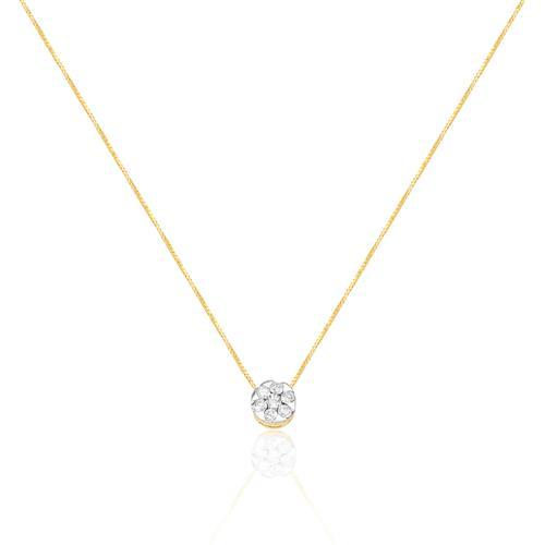Corrente com Pingente Chuveiro com 15 Pts em Diamantes, em Ouro Amarelo a94d74713b