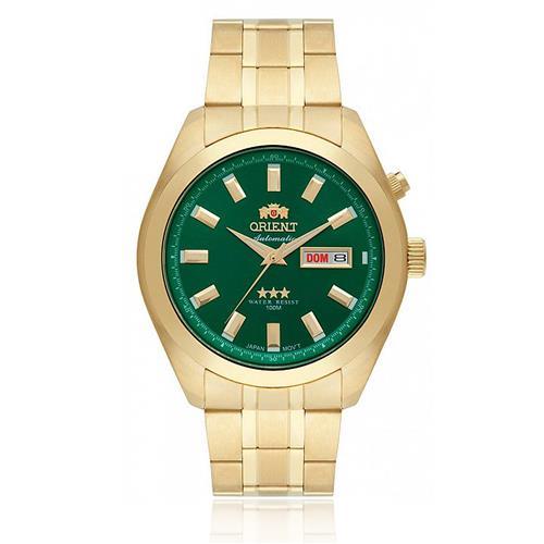 Relógio Masculino Orient Automatic 469GO075 E1KX Dourado fundo verde