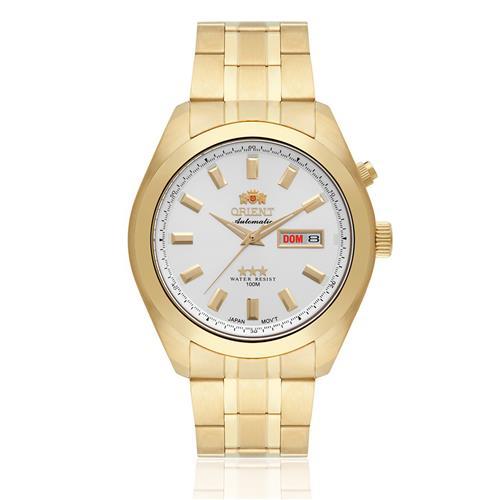 Relógio Masculino Orient Automatic 469GP075 S1KX Dourado fundo prateado
