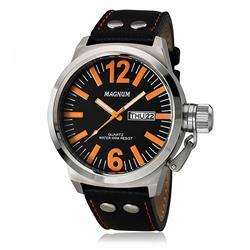 Relógio Masculino Magnum MA31524J Couro Preto