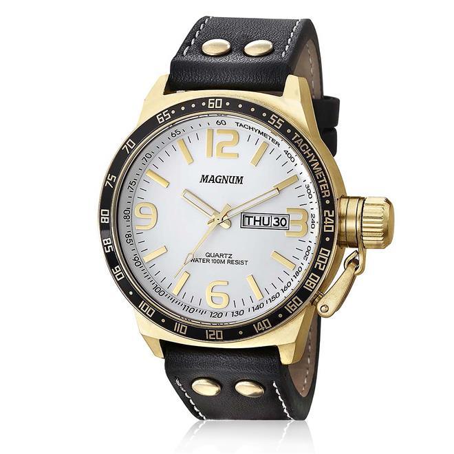 dded023a56170 Relógio Masculino Magnum MA31542B Dourado com Couro