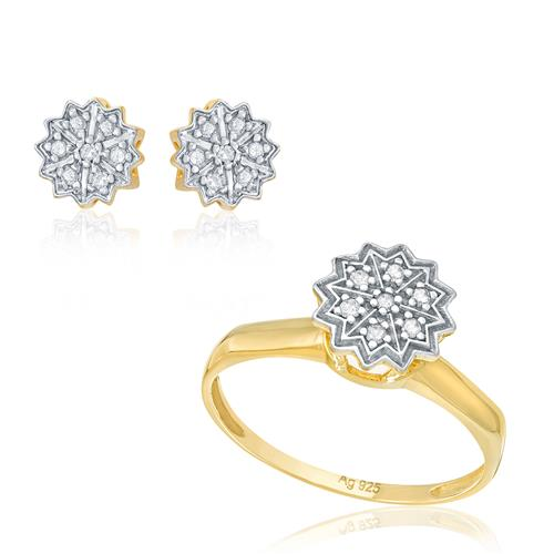 Conjunto Par de Brincos e Anel com Diamantes totalizando 25 pts. Folheado a Ouro Amarelo e Detalhes em Ródio
