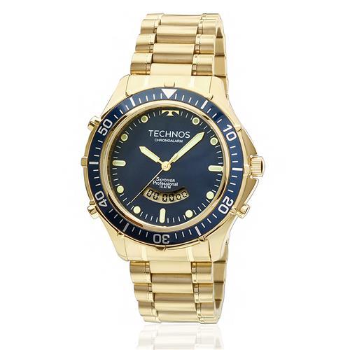 Relógio Masculino Technos Skydiver Chronoalarm T205IZ 4A Dourado 0971337474
